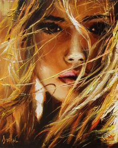 Catawiki Online-Auktionshaus: Ewa Switala - Dance With The Wind art en lienzo Art Sketches, Art Drawings, Indian Art Paintings, Eye Art, People Art, Woman Painting, Portrait Art, Erotic Art, Fantasy Art