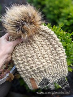 Caterpillar Bulky Knit Hat Pattern · Crazy Hands Knitting Beanie Knitting Patterns Free, Beanie Pattern Free, Loom Knitting Patterns, Knitting Yarn, Hand Knitting, Crocheting Patterns, Knitting Ideas, Knitting Projects, Beanies