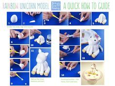 Rainbow Unicorn Guide - Paul Bradford Sugarcraft School by Celia from Bath Cake CompanyA Free Rainbow Unicorn Guide and New Course Dates!A step-by-step guide to creating your very own rainbow unicorn cake topper.More than 130 ideas for great unicorn Cake Topper Tutorial, Fondant Tutorial, Dessert Original, Unicorn Cake Topper, Unicorn Cakes, Fondant Animals, Fondant Toppers, Cake Decorating Tutorials, Decorating Supplies