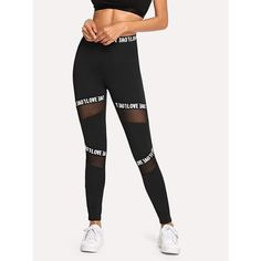 Mesh Contrast Letter Leggings Sports Leggings, Women's Leggings, Black Leggings, Tights, Stylish Outfits, Fashion Outfits, Fashion Hub, Fashion Women, Fashion Ideas