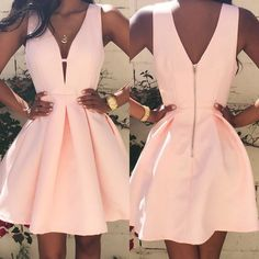 Women Fashion Casual Dress V-neck Sleeveless Pink Evening Party Dresses - The most beautiful dresses and seasonal outfits Cocktail Bridesmaid Dresses, Long Cocktail Dress, Hoco Dresses, Cute Dresses, Evening Dresses, Formal Dresses, Party Dresses, Cute Homecoming Dresses, Ladies Dresses