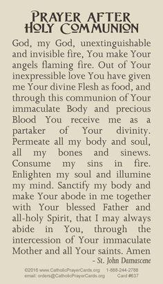 Prayer After Holy Communion by St. Short Prayers, Special Prayers, Bible Prayers, Catholic Religion, Catholic Quotes, Catholic Mass, Catholic Prayer For Healing, Catholic Prayers, Communion Prayer