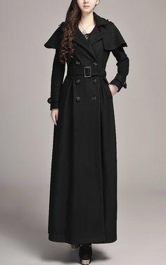 Black Winter Coat Maxi coat Wool Blend Coat Shawl by Fashiondress1, $184.99