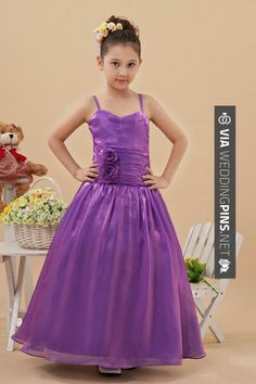 Like this! - New Arrival Flower Girl Dresses Ball Gown Straps Floor Length Taffeta | CHECK OUT MORE GREAT FLOWER GIRL AND RING BEARER PHOTOS AND IDEAS AT WEDDINGPINS.NET | #weddings #wedding #flowergirl #flowergirls #rings #weddingring #ringbearer #ringbearers #weddingphotographer #bachelorparty #events #forweddings #fairytalewedding #fairytaleweddings #romance