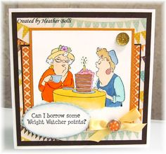 Art Impressions Rubber Stamps: Ai Golden Oldies: Out to Lunch Set of 4 (Sku#3576) ... handmade card. weight watchers, weight loss, dieting