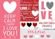 Batch of Valentine Free Printables (all from one site..from cards to wall art !).
