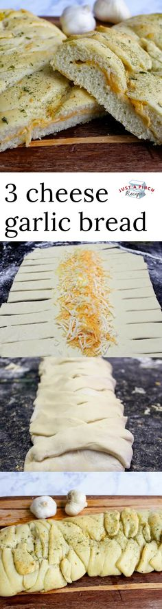 This 3 cheese garlic braid bread is beyond delicious and a great bread recipe for dinner! #breadrecipe #garlicbread #cheesegarlicbread