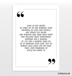 Life is too short - Quote Print - A6 - (105mm x 148mm) (4.1inch x 5.8inch)