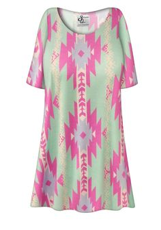 0928d61f23 Customizable Mint Green Aztec Print Plus Size   Supersize Extra Long T- Shirts 0x to