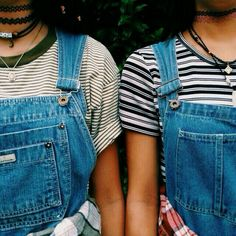 90s grunge overalls and chokers