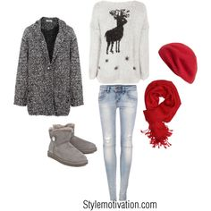 In love with the cardigan, sweater and hat and scarf <3333 not so much the pants and boots