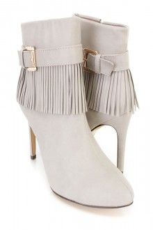 Taupe Fringe Single Sole Ankle Booties Faux Leather