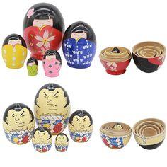 5pcs/ Set Wooden Russian Matryoshka Doll Nesting Dolls Sumo/Girls Glaze Toys Home Decor Handmade Crafts LS