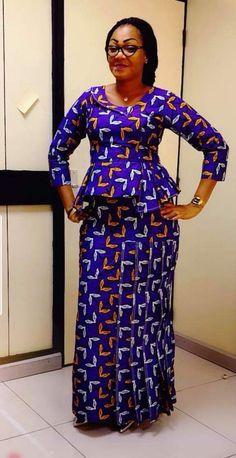 Peplum Ankara Skirt And Blouse: Check Out Creative And Stylish Peplum Ankara skirt and blouse to rock Long African Dresses, Latest African Fashion Dresses, African Print Fashion, African Print Dress Designs, African Blouses, Ankara Skirt And Blouse, African Traditional Dresses, African Attire, Kitenge