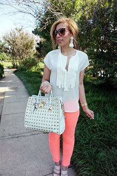 AG jeans, sun burned denim, michael kors hamilgton bag, michael kors watch, spring outfit, summer style, peach jeans, j.crew, preppy, tessel earrings, white and pink,