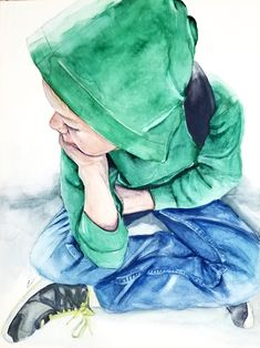 """""""Waiting for the Plane"""" is watercolor figurative portrait painting on aquabord of a young boy in a green hoodie seated by artist Esther BeLer Wodrich Art Reference Poses, Watercolor Portraits, Young Boys, Figurative Art, Original Artwork, Illustration Art, Drawings, Plane, Imagination"""
