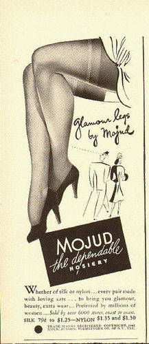 Glamour legs by Mojud Hosiery (1940s). #vintage #1940s #stockings #ads