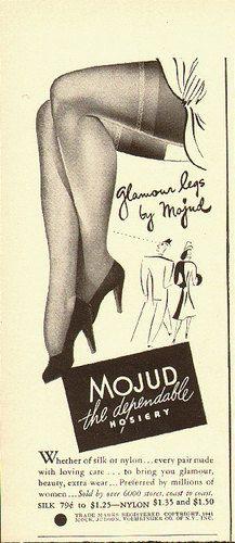 Glamour legs by Mojud Hosiery (1940s).