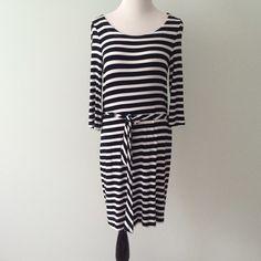 "BANANA REPUBLIC Navy blue white striped Dress Excellent condition. Navy blue and white striped dress. Tie around waist. Soft fabric. Rayon and spandex. Length 36"" Banana Republic Dresses"