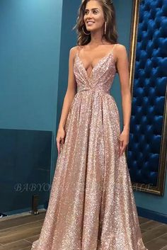 Sparkling Sexy Sling Deep V Large Dress – party dresses long,long prom gowns,night gown dress,dress beautiful,cocktail dress Sequin Evening Gowns, Evening Dresses, Long Dresses, Dresses Dresses, Cheap Dresses, Pink Ball Dresses, Summer Dresses, Simple Dresses, Pretty Dresses