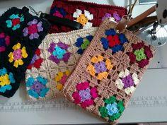 Crochet Wallet, Crochet Cord, Crochet Stitches, Crochet Baby, Crochet Handbags, Crochet Purses, Crochet Flower Tutorial, Crochet Flowers, Crochet Triangle Pattern
