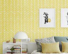 Zelfklevend vinyl behang - visgraat patroon afdrukken - 026 wit / zwavel