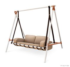 Leather Swing Seats Adding Chic of Modern Hanging Chairs and Sofas to Living Spaces Outdoor Furniture Design, Metal Furniture, Luxury Furniture, Home Furniture, Furniture Ideas, Play Mobile, Swing Seat, Porch Swing, Swing Chairs
