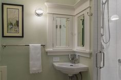 corner sink deserves a corner mirror Corner Medicine Cabinet, Medicine Cabinets, Corner Bathroom Mirror, Craftsman Bathroom, Bungalow Bathroom, Basement Bathroom, Bathroom Styling, Bathroom Ideas, Bath Ideas