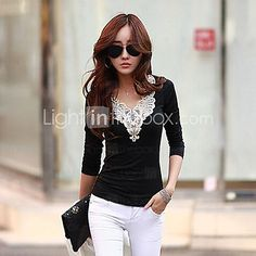 Women's  Slim  Long  Sleeve  Lace  T-Shirt - USD $4.99