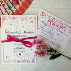 Bright pink, yellow, orange wedding invitation SAMPLE SET. Polka dots, summer wedding invites. Modern pink wedding invitation on Etsy, $6.17