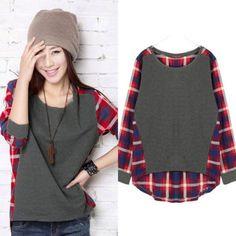 S-XXL-Damen-Kariert-Spleiss-Tunika-Asymmetrisch-Casual-Pullover-Shirt-Bluse-Top