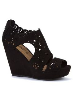 Black Cut Out Cage Wedges New Look