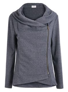 Dark Grey Long Sleeve Asymmetric Zip Outerwear - This looks really comfortable, yet it has a very interesting and stylish look. Cool Outfits, Fashion Outfits, Womens Fashion, Mode Ab 50, Stitch Fix Stylist, Mode Hijab, Hoodies, Sweatshirts, Autumn Winter Fashion