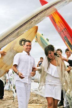 My own wedding. Surfer Wedding on the beach.
