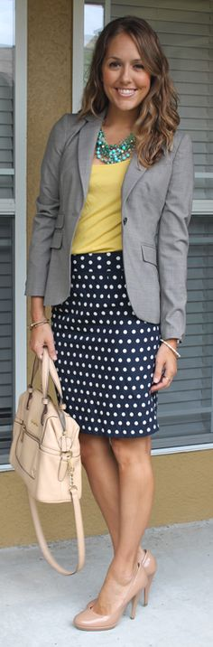 I love the skirt and blazer. It may be too much for me, but I'd so try it out.
