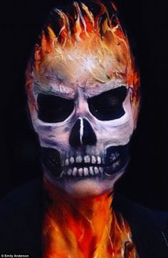 make-up artist paint terrifying creatures on her own face Meticulous makeup: Emily created a look inspired by Ghost Rider using Marvel makeupMeticulous makeup: Emily created a look inspired by Ghost Rider using Marvel makeup Scary Makeup, Skull Makeup, Sfx Makeup, Costume Makeup, Halloween Face Makeup, Halloween Zombie, Zombie Makeup, Halloween Costumes, Helloween Make Up