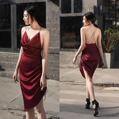 this is the answer Satin Dresses, Elegant Dresses, Pretty Dresses, Sexy Dresses, Beautiful Dresses, Dress Outfits, Evening Dresses, Fashion Dresses, Dress Up