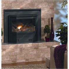 Empire Mantis Bay Window Fireplace w/ Barrier Screen - NG, Black Vented Gas Fireplace Insert, Direct Vent Gas Fireplace, Fireplace Inserts, Home Fireplace, Fireplaces, Window Inserts, Living Room Photos, Transitional Living Rooms, Black Doors