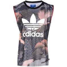 Adidas Originals By Rita Ora Top (€53) ❤ liked on Polyvore featuring tops, grey, gray sleeveless top, multi color tops, sleeveless jersey, adidas originals and grey sleeveless top