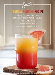 The simple yet unforgettable Sauza® Tequila Sunrise is a welcome guest at any party or get together with friends. For more great cocktail recipes, visit sauzatequila.com.