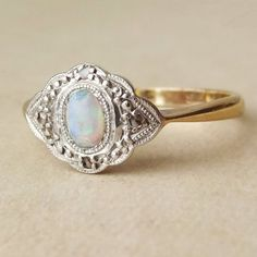 Art Deco Fiery Opal, Diamond and 9k Gold Engagement Ring Approx Size US 7.25 / 7.5