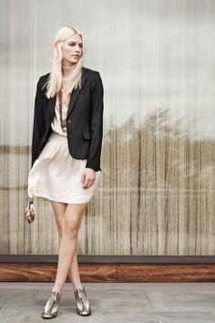 Blazer x Dress. Club Monaco online site up for Facebook fans.