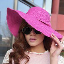 Bohemian Bowknot Womens Sun Floppy Hat Straw Beach Wide Large Brim Cap Rose Sun  Hats For 9dbff2e62f80
