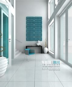 All visualization and modelling by me except Chair by Evermotion and Sculpture by an unknown artist. White and Blue Interior