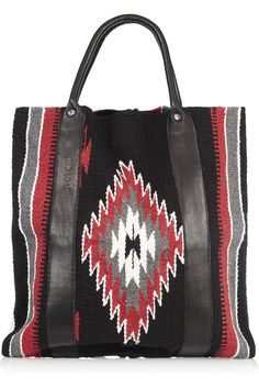 TOTeM Salvaged Leather-Trimmed Cotton Tote