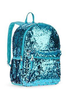 Aqua Blue 2 Way Sequins Backpack School Book Bag School Tote Full Size 16
