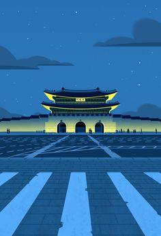 ArtStation - Palace of Seoul, Korea, Beomjin Kim Korea Wallpaper, Simple Poster, China Art, Korean Art, Aesthetic Drawing, Seoul Korea, Art For Art Sake, Pretty Wallpapers, Retro Art