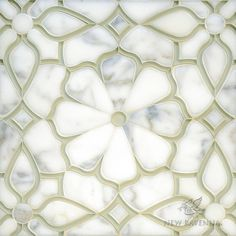 Estelle, a handmade mosaic shown in Venetian honed Calacatta Gold and Weathered White glass. Designed by Sara Baldwin Designs for New Ravenna.<br /> <br /> For pricing samples and design help, click here: http://www.newravenna.com/showrooms/