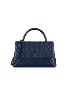 Flap bag with handle, grained calfskin-navy blue - CHANEL Burberry Handbags, Chanel Handbags, Luxury Handbags, Burberry Bags, Designer Handbags, Chanel Fashion, Fashion Bags, Handbags On Sale, Purses And Handbags