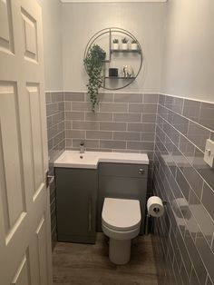 Small grey downs Small Downstairs Toilet, Small Toilet Room, Downstairs Cloakroom, Small Toilet Decor, Laundry In Bathroom, Tiny Wet Room, Master Bathroom, Bathroom Design Small, Bathroom Layout